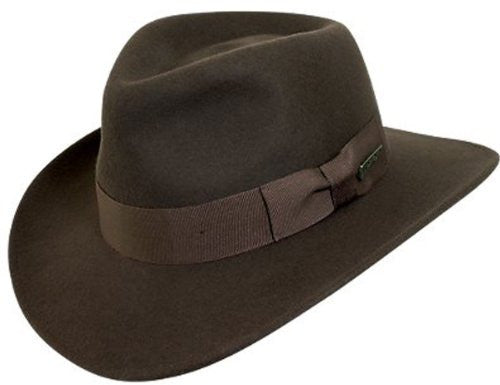 Indiana Jones Men's Water Repellent Wool Felt Outback (Brown-552 / Large)