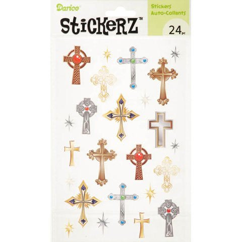 Darice Stickerz - Religious Crosses - 24 pieces/sheet, 1 Sh/Pack, Pack of 6
