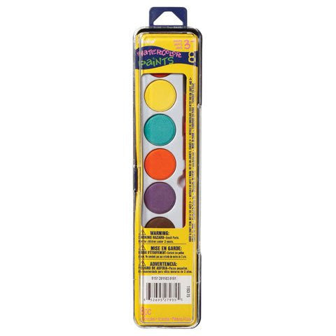 Darice Watercolor Paint Set with Brush - 8 color, Pack of 3