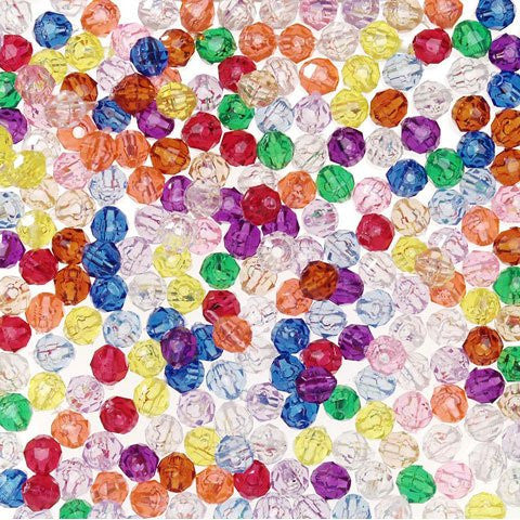 Faceted Plastic Beads - Translucent Multi Color - 6mm - 1000 pieces
