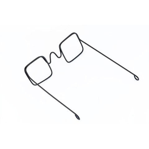 Doll Glasses - Wire - Rectangular Lens - Black