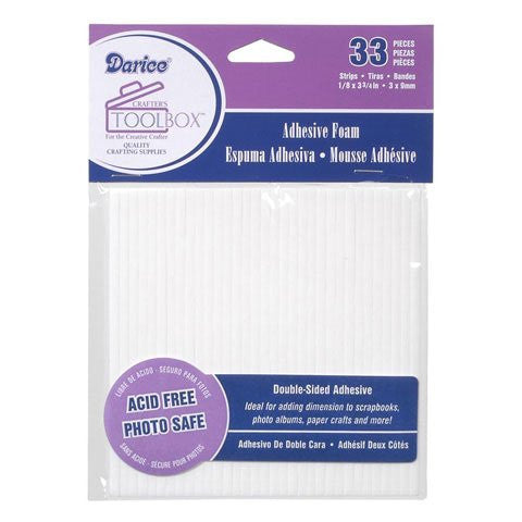 Darice Double Sided Foam Sticky Strips - White - 33 pieces/Pack, Pack of 6