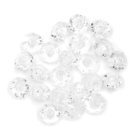 Plastic Beads - Faceted Rondelle - Crystal Clear - 6mm - 480 pieces
