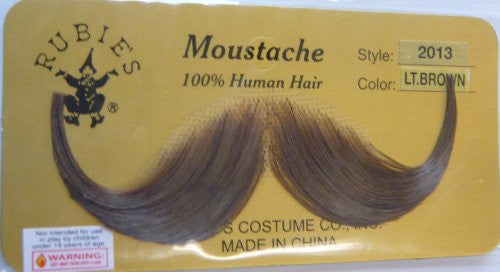 2013 (Light Brown) Human Hair Mustache Handlebar Mustache