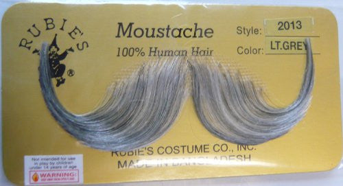 2013 (Light Gray) Human Hair Mustache Handlebar Mustache