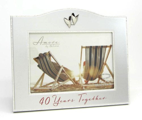"7.75""H 40TH ANNIVERSARY FRAME HOLDS 5X7 PHOTO"