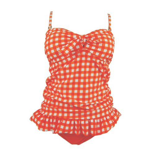 T901-Bikini&Ruffle Top, Gingham Orange, Large