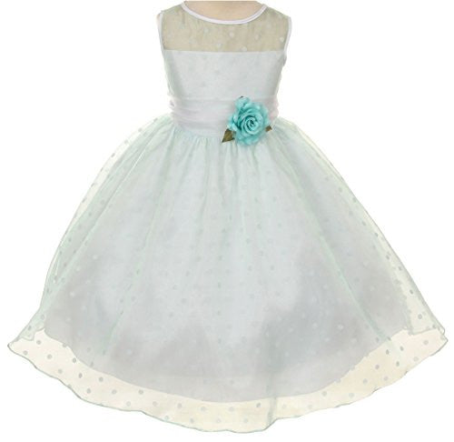 Lovely Organza Polkadot Dress with Sheer Illusion Neckline - Pale Mint, Size 4
