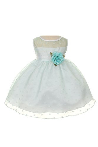 Lovely Organza Polkadot Dress with Sheer Illusion Neckline - Pale Mint, X-Small