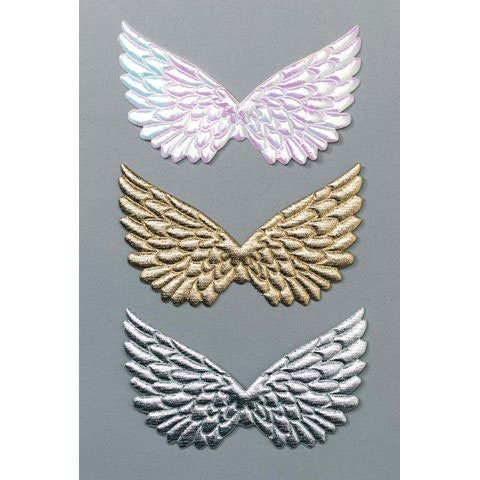 Angel Wings - Fabric - Embossed - Gold - 4.75 in - 2 pcs