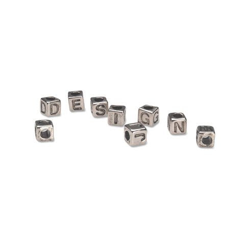 Alphabet Beads - Vertical Hole - Cube - Silver with Black Letters - 6mm