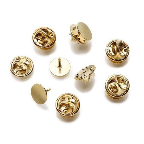 Tie Tacks with Clutch - Brass Plated Steel - 10mm