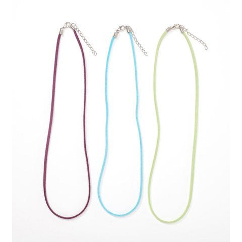 Leather Necklace Cord - Assorted Colors - Purple, Lime Green, Turquoise - 18 in