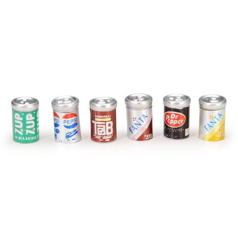 Miniature - Assorted Soda Cans - 1/2 inch - 6 pieces