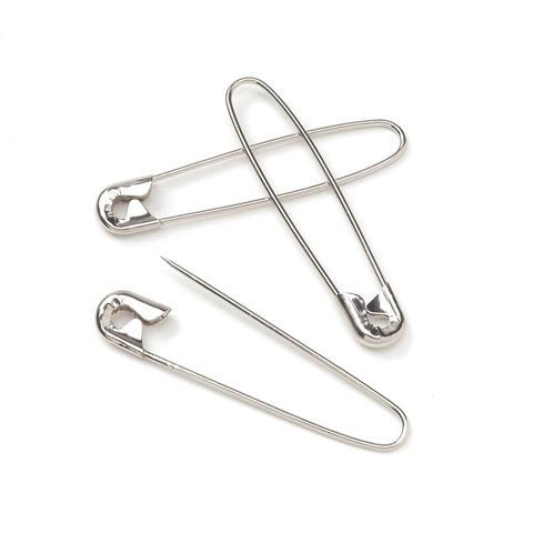 Coilless Safety Pin - Nickel - 1-1/8 inches