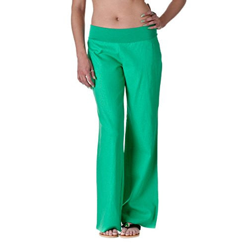 FOLD-OVER LINEN PANTS, Jade, Large
