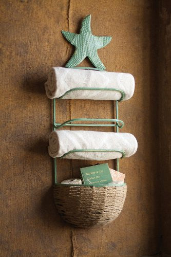 Starfish Towel Rack With Basket \ Antique Blue