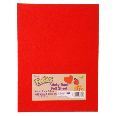 Darice® Sticky Back Felt Sheet - Red - 9 x 12 inches
