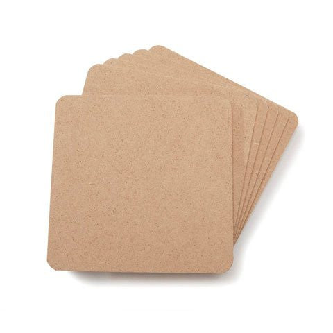 Coaster Set - MDF - Square - 6 pack - 4 x 4 inches, Pack of 3