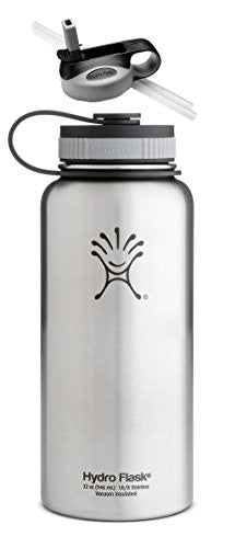 Hydro Flask Insulated Wide Mouth Stainless Steel 32-Ounce Water Bottle,32 oz,Classic Stainless w/Straw Lid