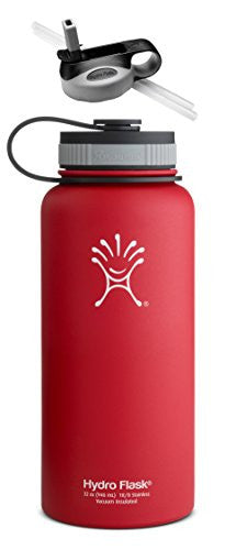 Hydro Flask Insulated Wide Mouth Stainless Steel 32-Ounce Water Bottle,32 oz,Lychee Red w/Straw Lid