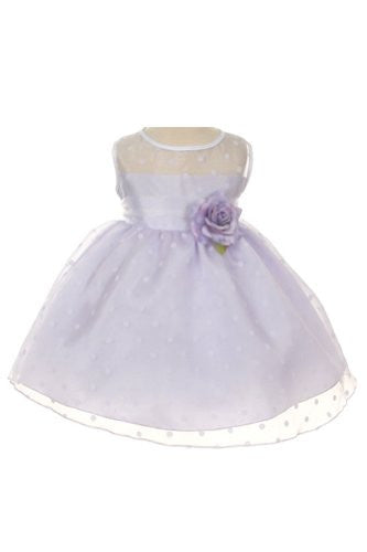 Lovely Organza Polkadot Dress with Sheer Illusion Neckline - Lilac, X-Small
