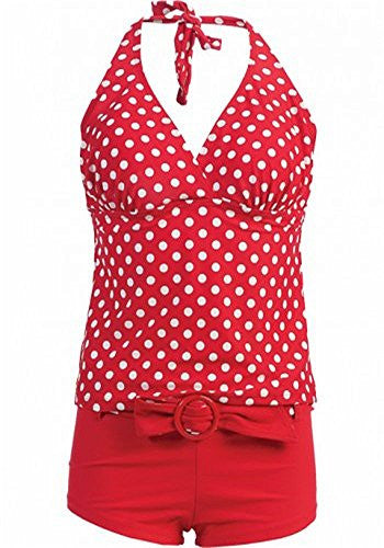 T605-Short&Tank Top, Red/wht Dot, Small