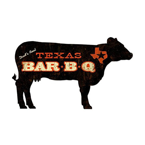 Texas BBQ Cow custom metal shape measures 28 inches by 16 inches