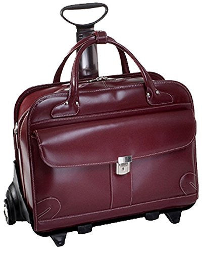 LAKEWOOD Leather Fly‐Through™ Checkpoint‐Friendly Detachable‐Wheeled Ladies' Briefcase [PATENTED] Red