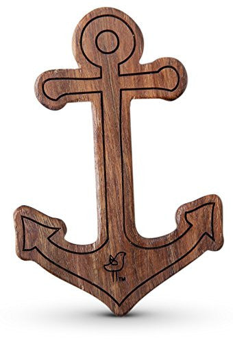 Anchor Wood Rattle Teether, Boy O/S