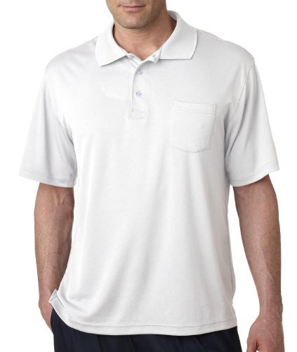 UltraClub Men's UC Performance Polo Shirt (White / Small)