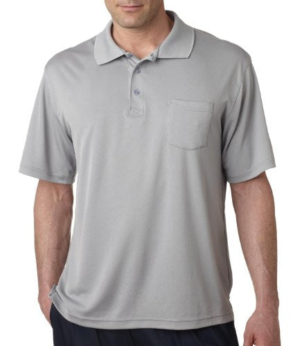 UltraClub Men's UC Performance Polo Shirt (Grey / Large)