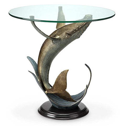 "Whale End Table, 23.5""H 24""W 24""D"