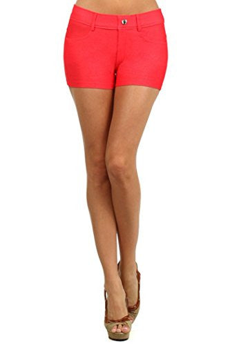 Yelete Colored Jegging Shorts - Red S/M