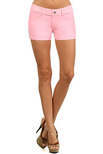Yelete Colored Jegging Shorts -Light Pink S/M