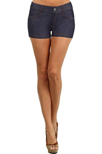 Yelete Colored Jegging Shorts - Navy L/XL