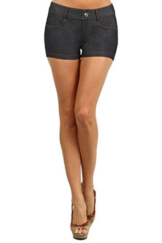 Yelete Colored Jegging Shorts -Black L/XL