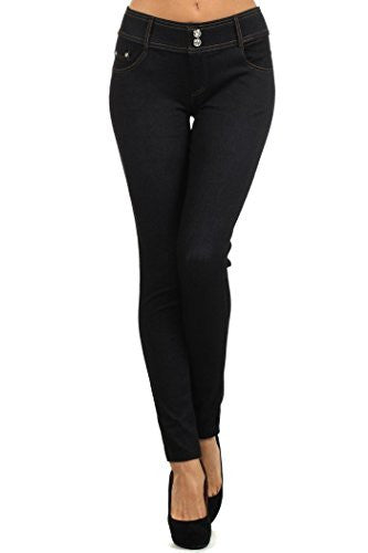 Yelete Jegging with Double Rhinestone Button - Black S/M