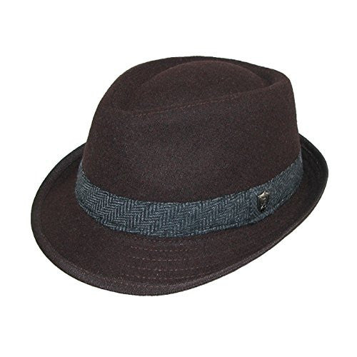 Dorfman Pacific Mens Wool Blend Fedora Hat with Herringbone Band (Chocolate Brown / Large / 22 3/4-23 1/8 Inches)
