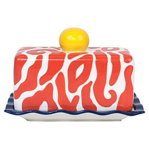 Zebra Covered Butter Dish - Persimmon
