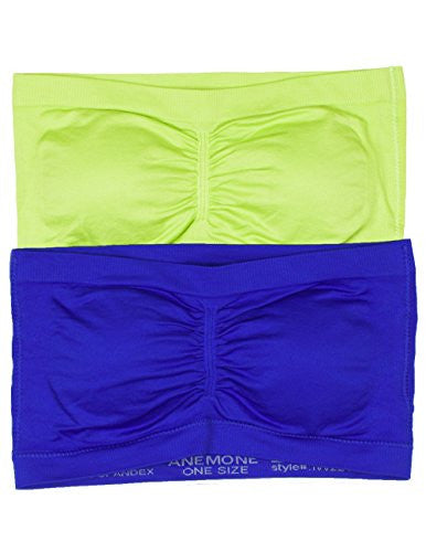Anenome Women's Strapless Seamless Bandeau Padding (2 or 4 pack),One Size,2 Pack: Yellow green/Royal