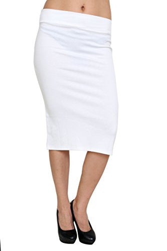 Azules Women's below the Knee Pencil Skirt - Made in USA (White / Small)