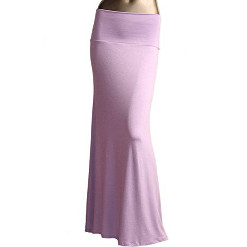 Azules Women's Rayon Span Maxi Skirt (Lavender / Small)