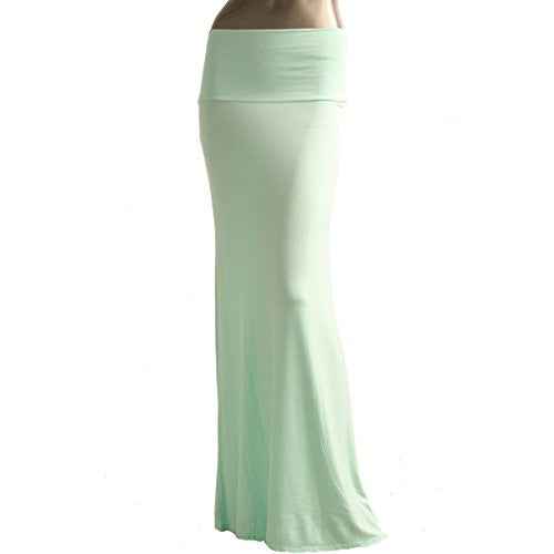 Azules Women's Rayon Span Maxi Skirt (Light Mint / Medium)