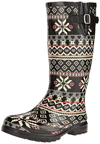 Nomad Footwear Women's Puddles Rain Boot, Black Snow Heart, 9 M US