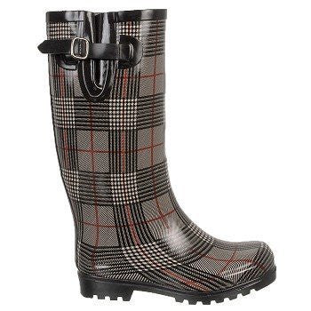 Nomad Women's Puddles Rain Boot,6 B(M) US,Black/Red Plaid