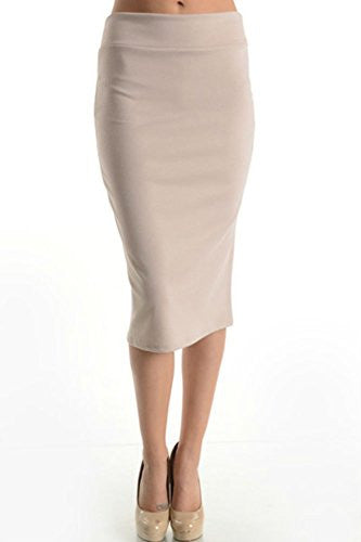 Azules Women's below the Knee Pencil Skirt - Made in USA (Light Beige / Small)