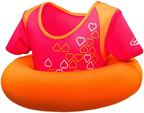 Swimways Swim Sweater - Pool Secure Flotation Jacket for Kids 2 - 4 Years, Pink/Orange with Hearts