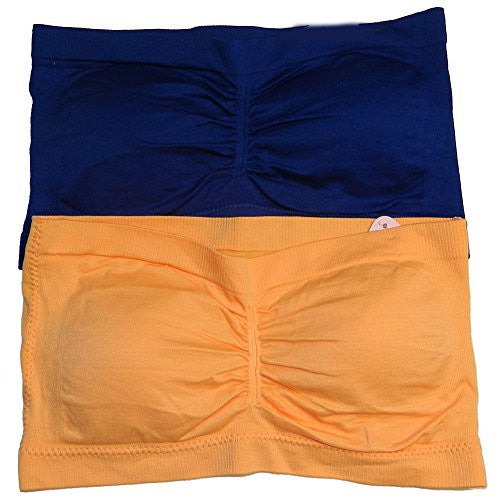 Anenome Women's Strapless Seamless Bandeau Padding (2 or 4 pack),One Size,2 Pack: Navy/Light Orange