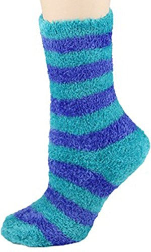 Soft Warm Microfiber Fuzzy Socks in Your Choice of Olive Green, Fuschia or Black,One Size,Turquoise/Periwinkle Big Stripe
